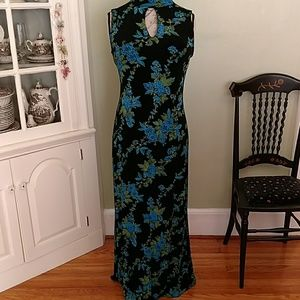 Coldwater Creek maxi dress in black/teal/green